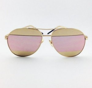 Óculos Split Dourado e Rosa Espelhado (Cód 167oc)