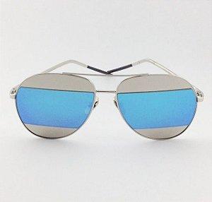 Óculos Split Prateado e Azul Espelhado (Cód 168oc)