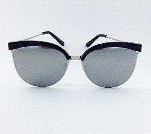 Óculos Gatinho Prateado Espelhado com Preto (Cód 170oc)