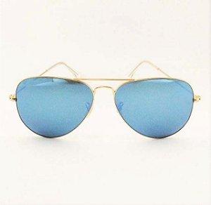 Óculos Aviador Azul Espelhado (Cód 172oc)