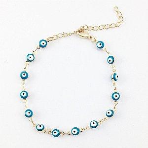 Pulseira Folheada em Ouro de Olhos Gregos Azul Claro