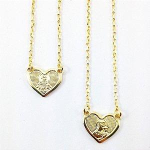 Escapulário de Coração Folheado em Ouro