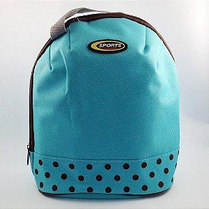 Bolsa Térmica Azul com Póas
