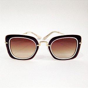 Óculos Quadrado Marrom com Creme (Cód 162oc)
