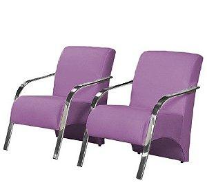 Conjunto 2 Poltronas Vênus Braço de Aluminio Tecido Liso - Violeta