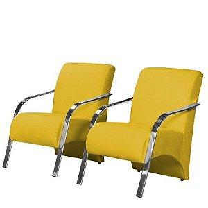 Conjunto 2 Poltronas Vênus Braço de Aluminio Tecido Liso - Amarelo