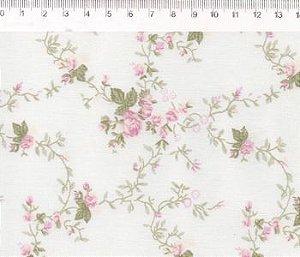 Tecido 100% algodão - Estampa  Floral Sara - 0,50 metro