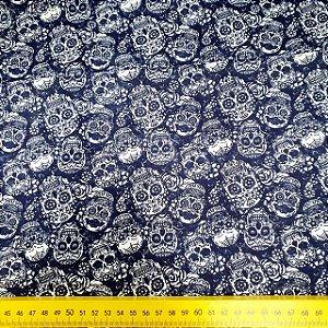 Tecido 100% algodão - Estampa Caveira - 0,50 metro