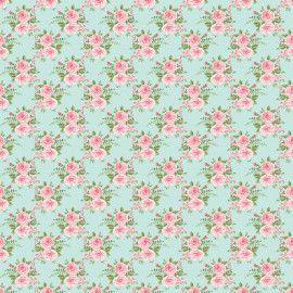 Tecido 100% algodão - Estampa Rosas Grandes Fundo Acqua -  0,50 metro