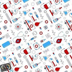 Tecido 100% algodão - Estampa de Medicina   -  0,50 metro