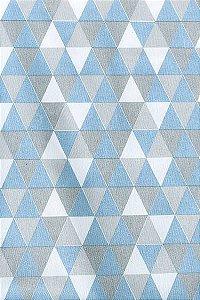 Tecido 100% algodão - Estampa Triangulo Azul -  0,50 metro