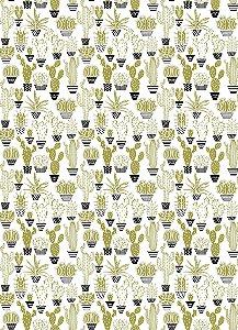 Tecido 100% algodão - Estampa Cactos -  0,50 metro