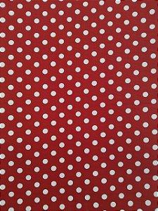 Tecido 100% algodão - Estampa Poá vermelho com Bolas Brancas -  0,50 metro