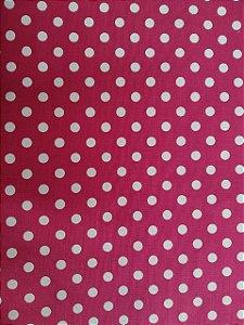 Tecido 100% algodão - Estampa Poá Pink com Bolas Brancas -  0,50 metro