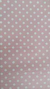 Tecido 100% algodão - Estampa Poá Rosa com Bolas Brancas -  0,50 metro