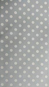 Tecido 100% algodão - Estampa Poá Cinza com Bolas Brancas -  0,50 metro
