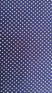 Tecido 100% algodão - Estampa Poá Azul Marinho com Bolinhas Brancas -  0,50 metro
