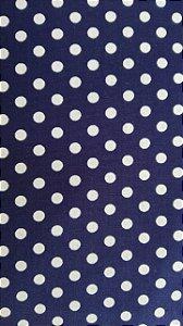 Tecido 100% algodão - Estampa Poá Azul Marinho com Bolas Brancas -  0,50 metro