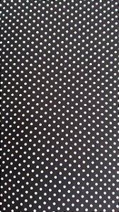 Tecido 100% algodão - Estampa Poá Preto com Bolinhas Brancas -  0,50 metro