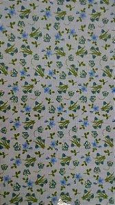 Tecido 100% algodão - Estampa Flores Azuis -  0,50 metro