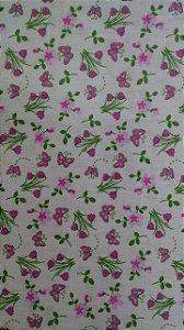 Tecido 100% algodão - Estampa Flores Rosa -  0,50 metro