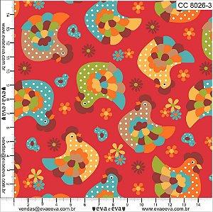 Tecido 100% algodão - Estampa Cocoricó -  0,50 metro
