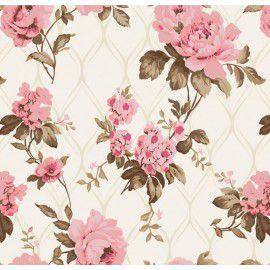 Tecido 100% algodão - Estampa Rosa Imperial -  0,50 metro