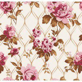 Tecido 100% algodão - Estampa Rose Imperial -  0,50 metro
