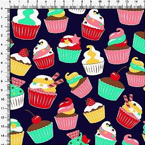 Tecido 100% algodão - Estampa Cupcake  -  0,50 metro