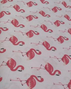 Tecido 100% algodão - Estampa Flamingo -  0,50 metro