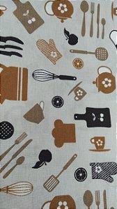Tecido 100% algodão - Estampa Utensilios de Cozinha -  0,50 metro