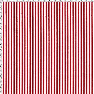 Tecido 100% algodão - Estampa Listrado Fino Vermelho -  0,50 metro