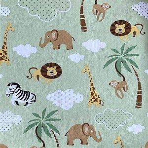 Tecido 100% algodão - Estampa Safari Fundo verde  - 0,50 metro