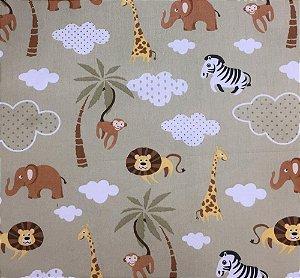 Tecido 100% algodão - Estampa Safari Fundo Bege - 0,50 metro