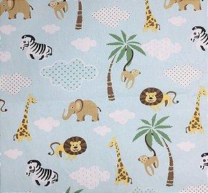 Tecido 100% algodão - Estampa Safari Fundo Azul - 0,50 metro