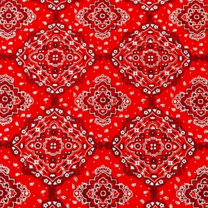 Tecido 100% algodão - Estampa Bandana Vermelha  - 0,50 metro