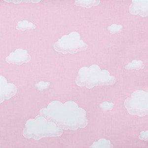 Tecido 100% algodão - Estampa Nuvem Fundo Rosa - 0,50 metro
