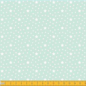 Tecido 100% algodão - Estampa Estrelas Com Póa Fundo Verde Claro - 0,50 metro
