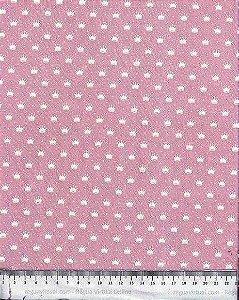 Tecido 100% algodão - Estampa Coroas Brancas Com Fundo Rosa- 0,50 metro