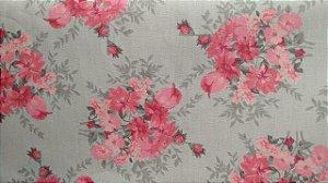 Tecido 100% algodão - Estampa Flores Rosas Com Fundo Cinza - 0,50 metro