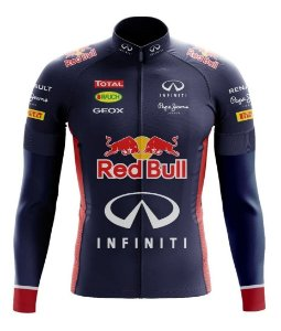 Camisa Red Bull Manga Longa Ciclista Ziper Bolso Fitness Mtb