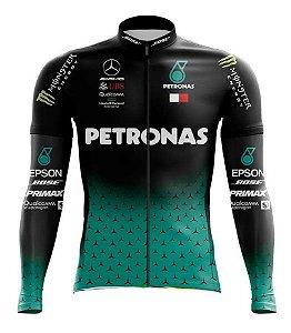 Camisa Petronas Manga Longa Ziper Bike Ciclismo Mtb Dry Fit Esporte