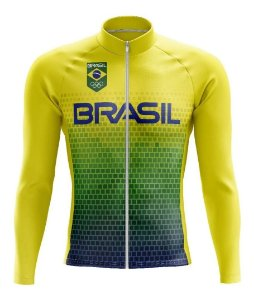 Camisa Brasil Manga Longa Mtb Bicicleta Confortável Ziper