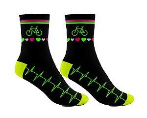 Meia Ciclismo Cano Longo Bike Batimento Cardíaco Coração