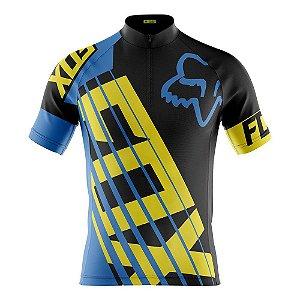 Camisa Infantil Fox Azul Bike Uv Confortável Dry Fit Respiravel