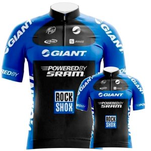 Conjunto Camisa Sublimada Meio Zíper Giant Ciclismo Bike