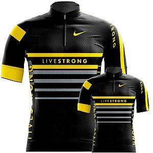 Conjunto Camisa Livestrong Pai E Filho Esporte Fitness UV