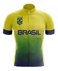 Camisa Manga Curta Brasil Ziper Ciclista BIcicleta Bolsos