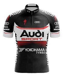 Camisa Manga Curta Audi Ziper Bolsos Ciclismo Esportiva Mtb