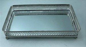 Bandeja Metal retangular C/ Espelho Prata